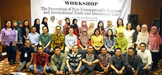Workshop with WHO Indonesia and University of Indonesia, in Bogor, Indonesia, Prevention of Noncommunicable Diseases, and International Trade and Investment Law